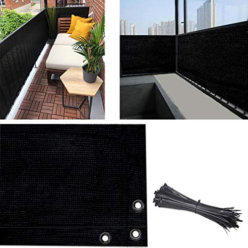 AOCHENLY Balcony Privacy Screen Fence Cover, 3.5ft x16.5ft Privacy Screen UV-Resistant Visibility Reduction Fence Screen for Balcony, Apartment, Backyard, Patio, Porch, Garden (3.5ft x16.5ft, Black)
