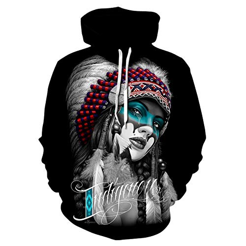 Hiikk Hombres Sudaderas con Capucha Sweater 3D Digital Print Sweater Beauty Pattern Long Sleeves-We473_XXL