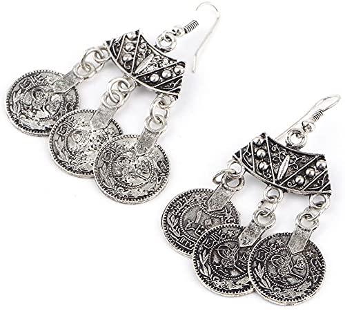 Pendientes de plata de la vendimia turca de la moneda del diseño de la flor de la playa gitana étnica tribal vacaciones joyería turca