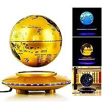 ZT-TTHG グローブフローティング世界を探検/磁気浮上グローブ/ 6インチカラフルなLEDライト/子供の教育ギフトツール/ホームデスクデコレーション、ゴールド (Color : Gold)