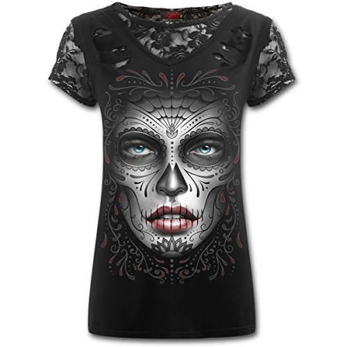 Camiseta Top Chica SPIRAL Death Mask Manga Corta Catrina -DS135361- Rock, Gothic (M)