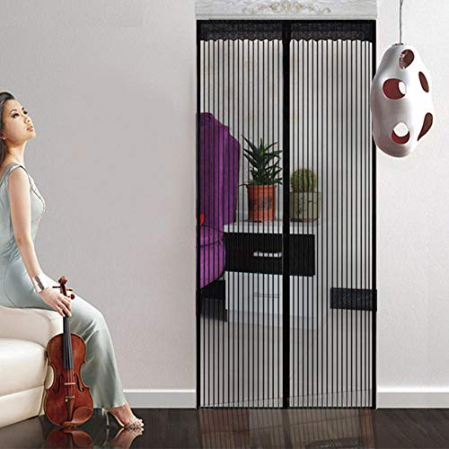 Zerrale Fly Screen Door Magnetic Fly Insect Screen Screen Door Mesh For Door Balcony Door Living Room Patio Door, Easy To Install Colling Multiple Size Options_Black_100 * 210Cm
