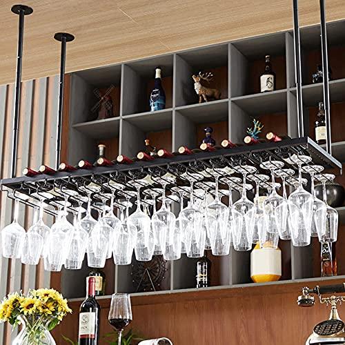 botellero vino Botellero para Vinos, Soporte para Copas de Vino para Colgar En El Techo, Botellero de Metal En El Techo, Estante para Almacenamiento de Botellas Debajo Del Gabinete Con Copas para El H