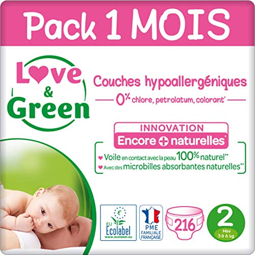 Love & Green Case Pack Couche Taille 2 (3-6 kg) - Pack 1 mois (216 Couches)
