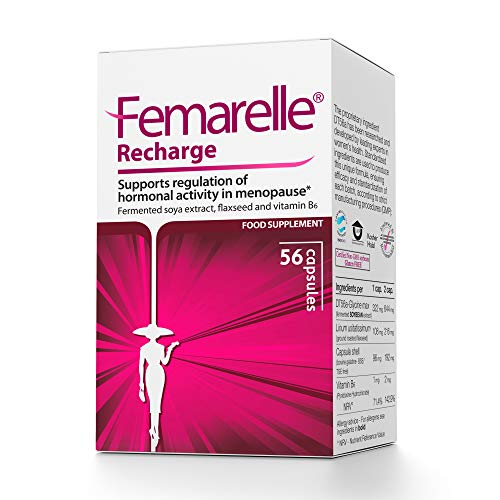 Femarelle Recharge Menopause Relief for Hot Flashes, Night Sweats, Mood Swings & More. Clinically Shown to Relieve Menopausal Symptoms -1 Month Supply