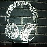 Veilleuse, 3D Led Night Light Music Casque Dynamique Avec 7 Couleurs De Lumière Pour...