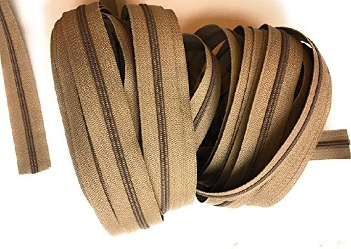 #3 Nylon Coil Zippers By The Yard Bulk -10 Yards Dk .Taupe Tape DIY Sewing Tailor Craft Bag