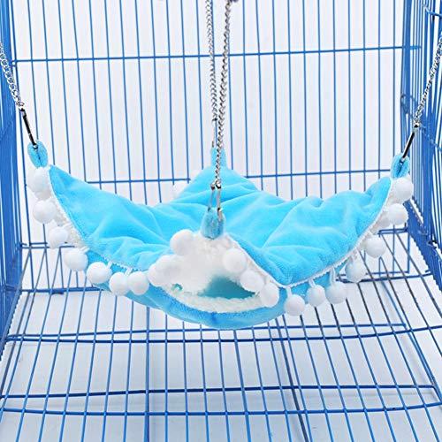 ACHICOO Warmer Doppelschicht-Hängemattenschlafsack für Pet Hamster Squirrel Chinchilla groß Blau für Heimtierbedarf