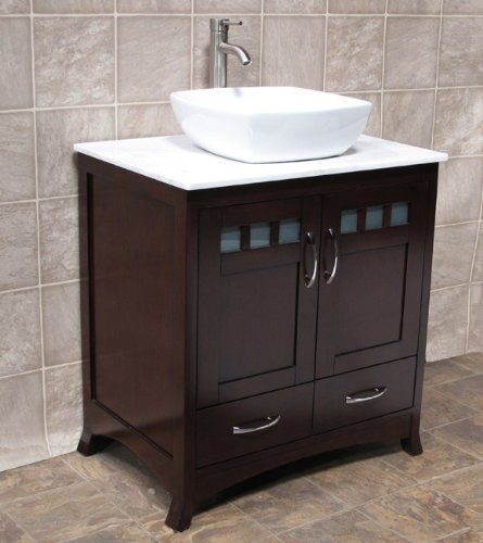 "Elimax's Solid Wood 30"" Bathroom Vanity 30-Inch Cabinet White Quartz Top Vessel sink B3021GL/7068"