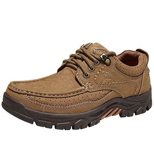 CAMEL CROWN Zapatos Casuales Hombre, Cómodo Calzado Antideslizante de Cuero Negocios Vestir Cordones Mocasines de Moda