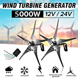 DSDD 5000W Home Wind Turbines Generator,12V 24V 5 Nylon Fiber Blade Horizontal Home Wind Turbines...