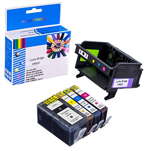 LKB Remanufactured 1 PK HR920 Printhead and 1 Set of Ink Cartridge Replacement for HP6000 6500 6500A 7000 7500A Printers(Printhead and Cartridge)-USA