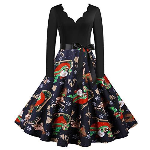 Damen Weihnachten Kleider Langarm Weihnachtskleid Vintage Hepburn Cocktailkleid Weihnachten Druck Partykleid A-Linie Swing Kleid Dress Kostüm Damen Retro Skater Kleider Cocktailkleid