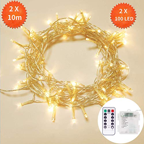 2 Stück 10M 100 LED Lichterkette mit Batterienbetrieben,OxyLED Lichterkette außen Innen mit Fernbedienung und Timer,IP65 Wasserdicht 8 Modi Dekorativ Lichterkette für Zimmer Garten Party Weihnachten