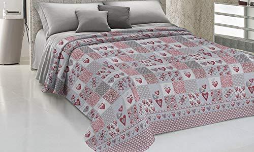 HomeLife Couvre-lit pour lit double en piqué [260 x 280], fabriqué en Italie, couverture de lit double en coton jacquard à crayons | Drap housse léger pour lit double | Rouge