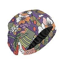 ナイトキャップ 和風 レトロ オレンジ色の花 ルームキャップ 室内帽子 レディース 就寝用帽子 お休みキャップ おしゃれ おやすみキャップ 抜け毛防止 ヘアキャップ 快眠グッズ 就寝用 ロングヘア対応 睡眠改善 通気性いい 美髪 ビューティー