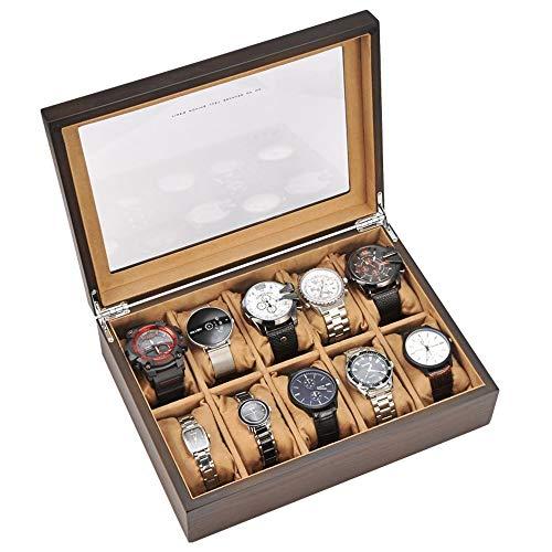 JUNJP Horloge Opbergdoos, Glas Cover 10 Horloge Sieraden Display Opbergdoos, Ornament Collectie Doos, Geschikt voor Horloge Fitness Tracker Armband