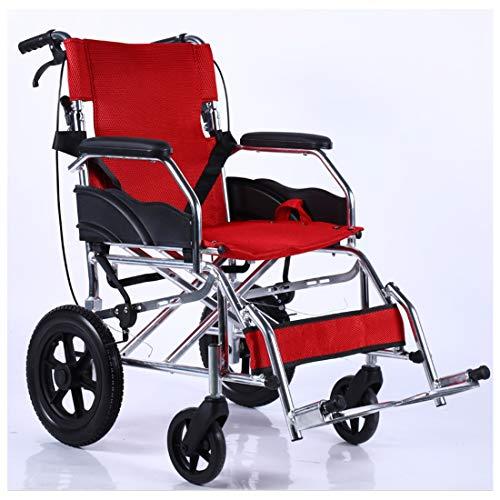 Opvouwbare rolstoel met veiligheidsgordel voor en achterwiel massieve band- 4 achterste handremmen - aluminiumlegering Rood