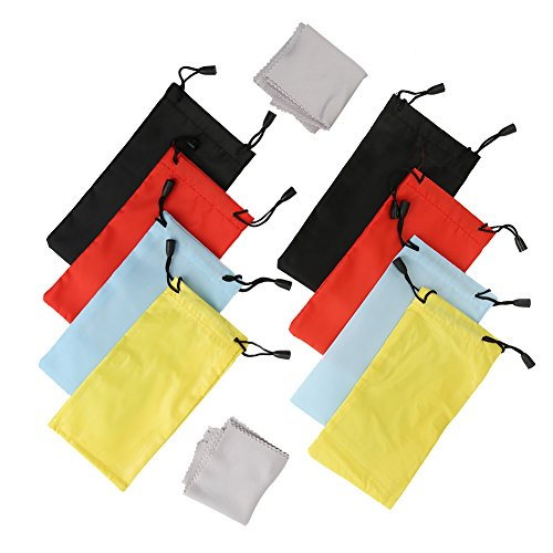 Shintop 8 Pack Sunglasses Pouches, Drawstring Soft Bag with 8 Pack Microfibre Cleaning Cloth for Glasses, Gadgets (Random 4 Colours)