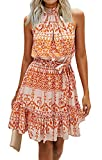 BTFBM Women Floral Dresses Casual Summer Sleeveless Halter Neck Ruffle Belt Boho Polka Dot Leopard Print Sun Short Dress (Color Block Orange,Medium)