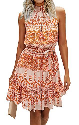 BTFBM Women Floral Dresses Casual Summer Sleeveless Halter Neck Ruffle...