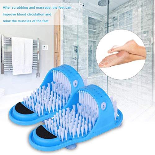 XXXZZL Foot Scrubber Le Scrubber de la Brosse à Pied Le Massage de L' Exfoliation à Pieds Pantoufles et Brosse pour Nettoyer Les Pieds Massager Slippers - Exfoliation for Shower Spa,Bleu