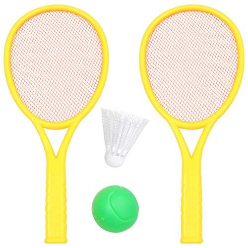 Conjunto de raquete de tênis infantil CLISPEED com 4 peças de raquete de tênis de bola de plástico para esportes ao ar livre, verão, praia, gramado (tamanho grande, 2 bolas, 2 peças de raquete, cor aleatória)