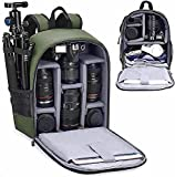 Cwatcun Camera Backpack Bag Professional for SLR DSLR Mirrorless Camera Waterproof Camera Case Compatible with Sony Canon Nikon Camera and Lens Tripod Accessories (Ⅱ Small Green)