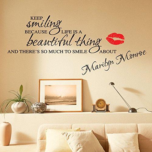 THE VINYL BIZ Adesivo da parete con citazione di Marylin Monroe Keep Smiling [lingua inglese], 1 SCHWARZ, Xtra Große 120 cm x 60 cm