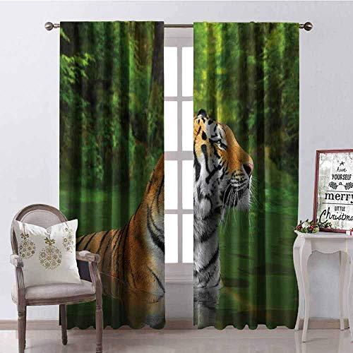 Wild One Curtain Cortina Aislada con Sombreado De Tigre Gato Grande A Rayas Negras De Siberia Nadando En El Lago En El Bosque Sombra Insonorizada