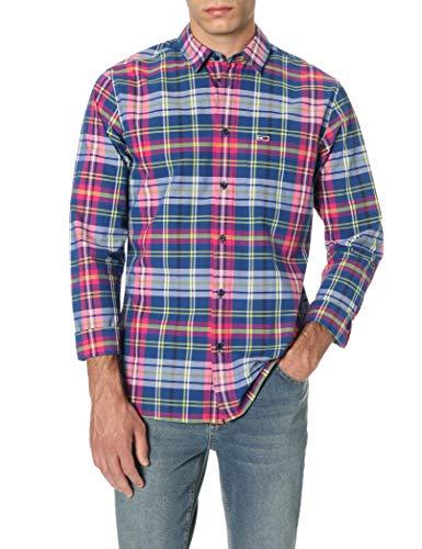 Tommy Hilfiger TJM Essential Big Check Shirt Camisa Casual, Azul (Limoges/Multi 434), S para Hombre