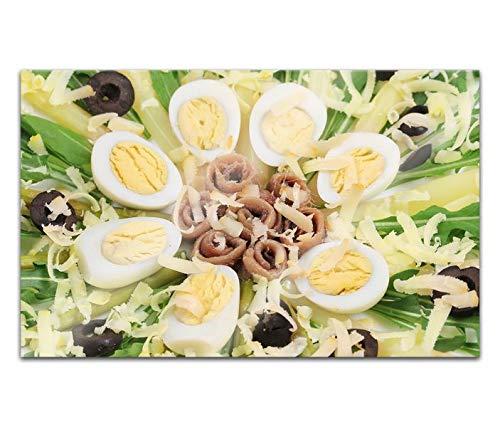 Acrylglasbilder 80x50cm Spargel Eier Salat Ei Gemüse Essen Küche Acryl Bilder Acrylbild Acrylglas Wand Bild 14H836