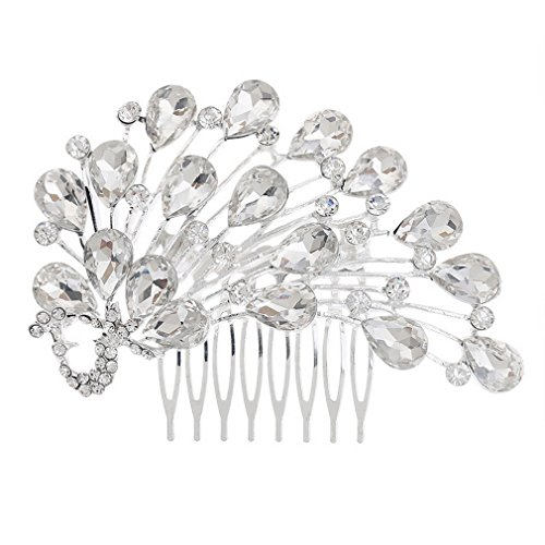 Yazilind Braut pfau haircomb westlichen Hochzeit Kopfschmuck intarsien kristall Haarschmuck