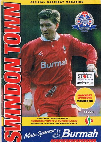 Swindon Town v Sunderland FC 15/03/95 (County Ground) football programme