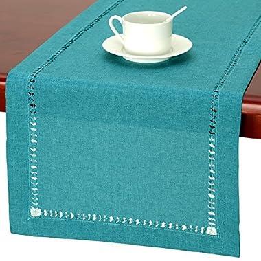 GRELUCGO Handmade Hemstitch Teal Table Runner Dresser Scarf, Rectangular 14 By 36 Inch