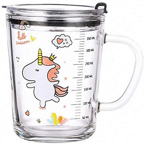 J.AKSO Vaso de agua para niños, vaso medidor de cristal, unicornio, sirena,...