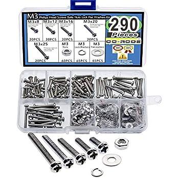 290pcs M3 Phillips Pan Head Screws Bolts Nuts Lock Flat Washers Assortment Kit  M3,304 Stainless Steel