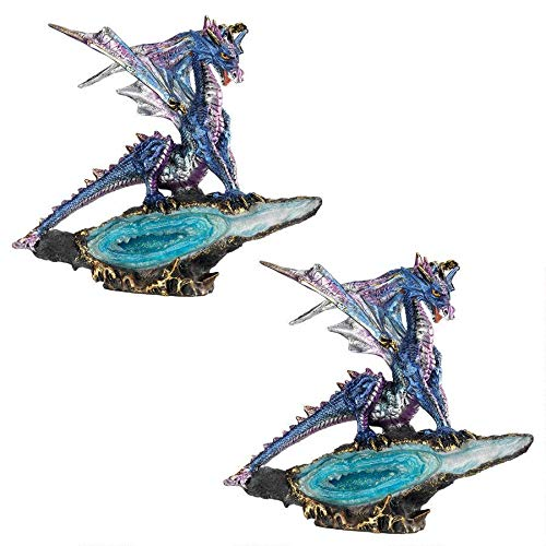Design Toscano Geode Guardian Gothic Dragon Statue: Set of Two, Multi/Color