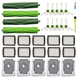 Replacement Parts Kit for iRobot Roomba i7 i7+ Plus Vacuum,2 Set Multi-Surface Rubber Brushes & 10 High-Efficiency HEPA Filters & 10 Edge-Sweeping Side Brushes & 5 Dirt Disposal Bags(27 pack)