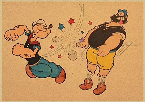 xuyuandass Popeye Betty Puppe Klassiker Film Retro Kunst DIY Hd Ölgemälde Wandbild Modernen Hintergrund Wandaufkleber Hauptdekoration Ölgemälde Rahmenlos 50X70Cm 7352G