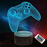 3D Gamepad Night Light, Lightzz Game Console Illusion lamp with Remote + Touch 16 Color Flashing Changing + Timer Desk Lamps Kids Room Decor Best Festival Birthday Gifts for Game Fan