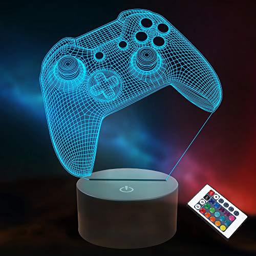 3D Gamepad Nachtlicht, Lightzz Game Console Illusionslampe mit Fernbedienung + Touch 16 Farbblinken Wechseln + Timer Schreibtischlampen Kinderzimmer Geschenke für Spielefan