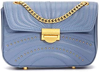 LVfenghe New Chain Shoulder Bag Trend Casual Fashion Europe and America Messenger Bag Small Leather Handbag Size:20 * 6 * 14cm (Color : Blue)