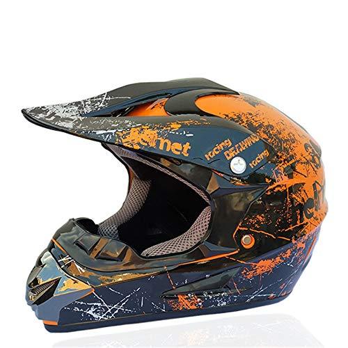 LVYE1 MRMF Casco De Motocross para Motocross, Casco Moto Cross Road con Casco Guantes Gafas para Adulto Niños Quad Bicicleta ATV Go Karting Casco Adecuado,A,XL