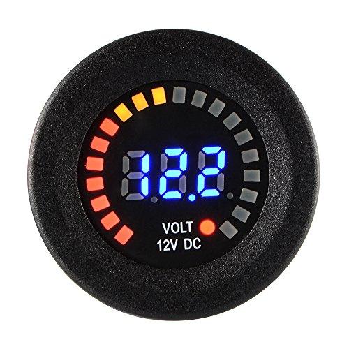 XCSOURCE Voltmètre Panneau Affichage Numérique LED Bleue Etanche Voltmètre Tension Jauge Noir Auto Moto DC 12V-24VMA1028