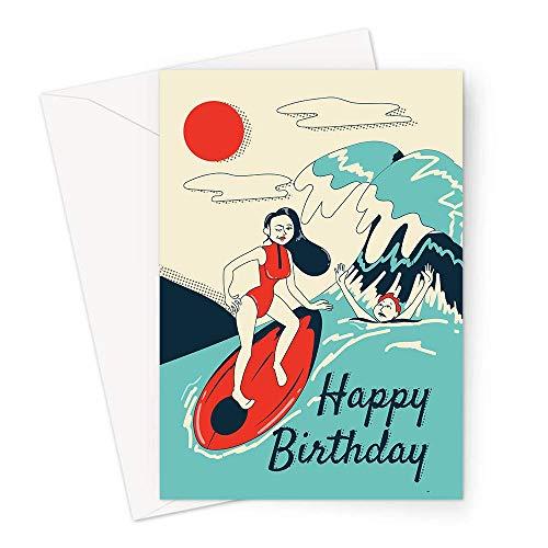 Happy Birthday Surfen Grußkarte | Frau Surfen im Sonnenschein Surfer Happy Birthday Karte, Hobby Geburtstagskarte für Surfer