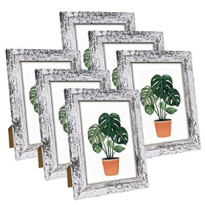 Q.Hou 5x7 Picture Frame Wood Pattern Distressed White Photo Frames Packs 4 with High Definition Glass for Tabletop or Wall Decor (QH-PF5X7-RW)