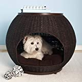 igloo style pet crate/end table in dark stained waterproof rattan