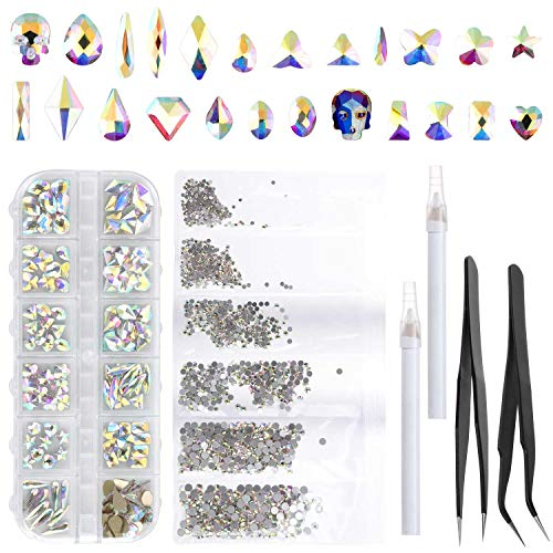 1852 pcs Nail Crystals AB Rhinestones Kits with Pencil Tweezers for Women Natural Acrylic Crafts, Multi Shapes Flat Back Gems Stones