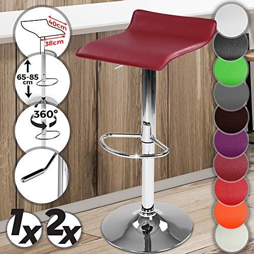 Giratorio taburete de Bar silla de diseño moderno funda de piel sintética w/reposapiés ajustable altura en color rojo vino/burdeos